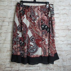 Dress Barn Women Skirt Elastic Waste Sz 12 Flare